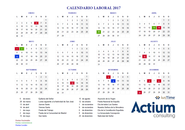 Calendario Laboral Comunidad De Madrid.Calendario Laboral 2017 Actium Consulting